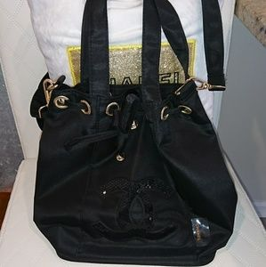 new authentic chanel sequin bucjet tote